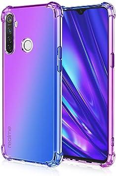 Dedux Funda para Realme 5 Pro, [Refuerzo de Cuatro Esquinas] Carcasa Gradiente Transparente TPU Suave Funda Case (Violeta/Azul): Amazon.es: Electrónica