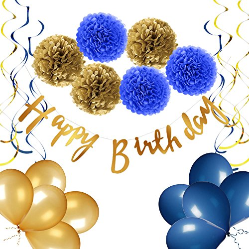 yotruth Navy Blue Birthday Decorations with Shiny Gold Birthday Banner Pompom Flower Balloons and Hanging Swirls, Blue and Gold Birthday Party Decorations for Adults and Kids