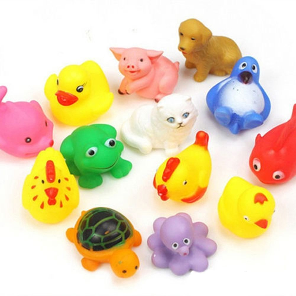 Amazon.com : 13pcs Cute Soft Rubber Float Sqeeze Sound Baby Wash ...