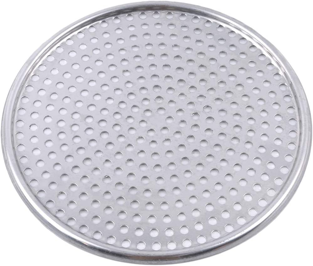 Flat 10 Inch Beafavor Non-Stick Round Shape Pizza Baking Tray Stainless Steel Fluted Pizza Pans with Holes Home Kitchen Accessories