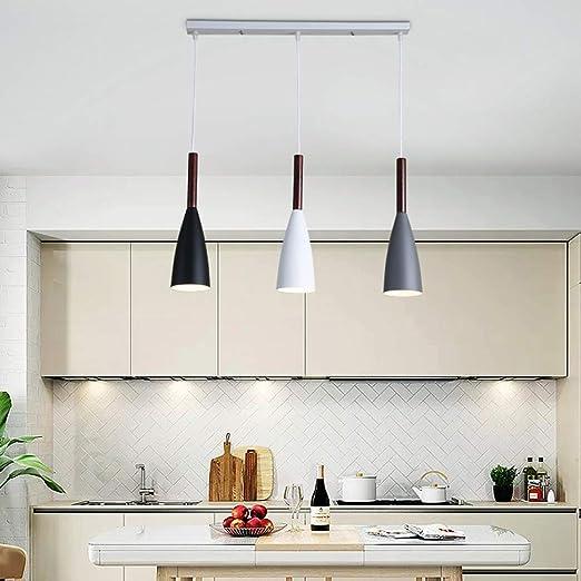 Lámpara de comedor moderna Lámpara de mesa de comedor Lámpara 3*E27 Lámpara colgante Altura ajustable Lámparas de cocina Dormitorio Sala de estar Lámpara de techo de hierro vintage Iluminación L60 cm: Amazon.es:
