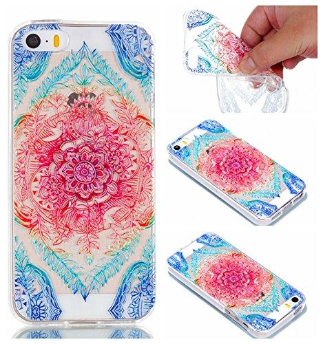 Crisant Case Cover For Apple iPhone 5 5S / SE,Beau motif Premium gel TPU souple Très mince Transparent Clair Bumper silicone protection Housse arrière coque étui Pour Apple iPhone 5 5S / SE