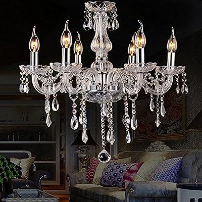 LightInTheBox Chandelier Vintage Crystal Ceiling Light Candle Light 6 Lights Pendant Light Lamp Lighting for Living Room Bedroom Dining Room Kitchen