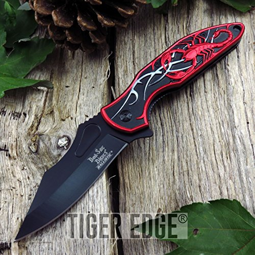 (New Cool ProTactical Limited Edition Elite FOLDING POCKET Knife Red Black Blade Scorpion Tactical DS-A048BR)