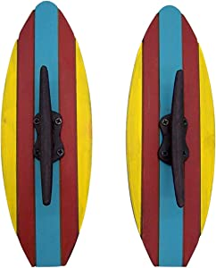 Red Yellow Blue Wood and Cast Iron Surfboard Wall Hooks, Set of 2, 12 Inches