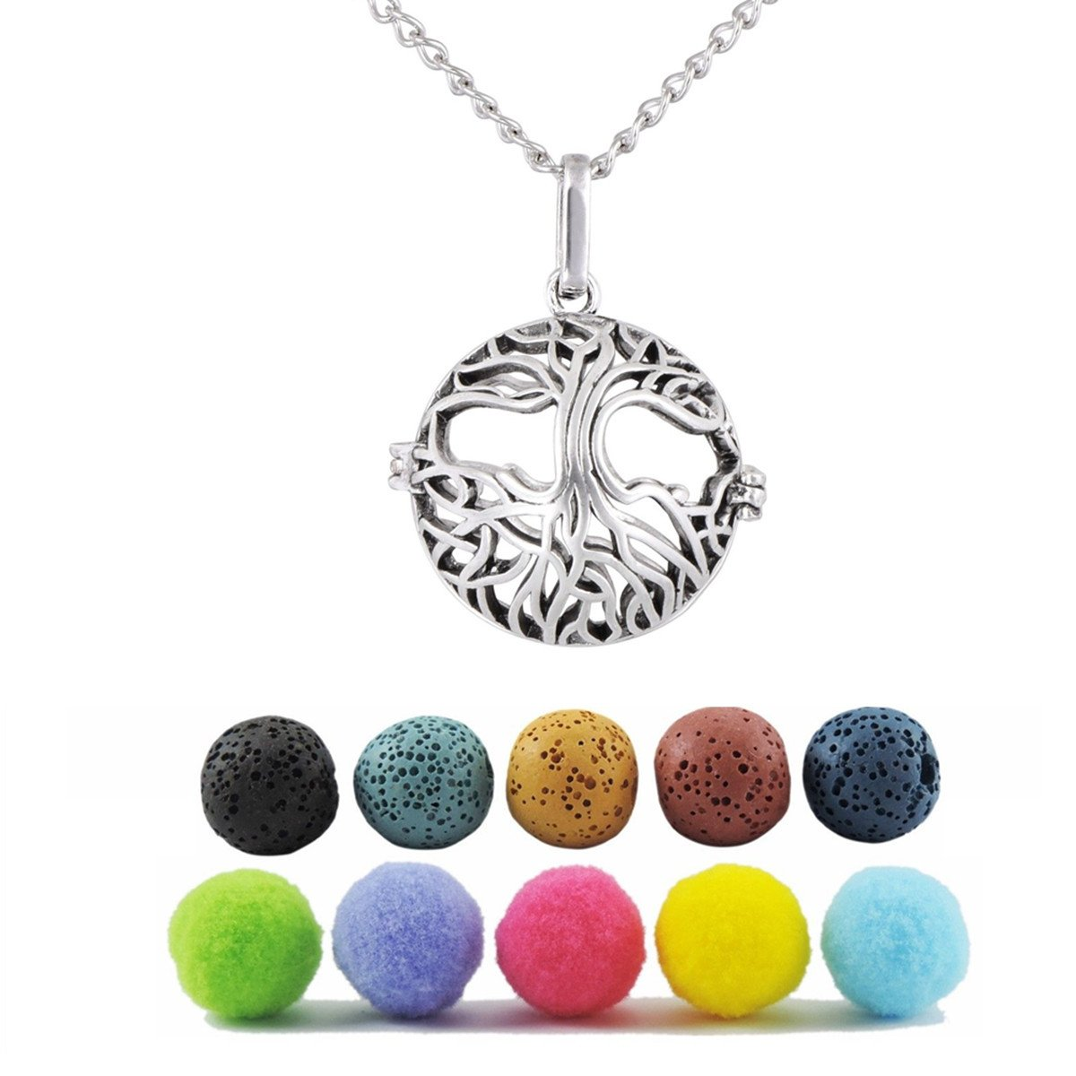 GraceAngie Tree of Life Aromatherapy Essential Oil Diffuser Necklace Locket Pendant with 5 Lava Beads/Refill Pads CJ415+CJ401