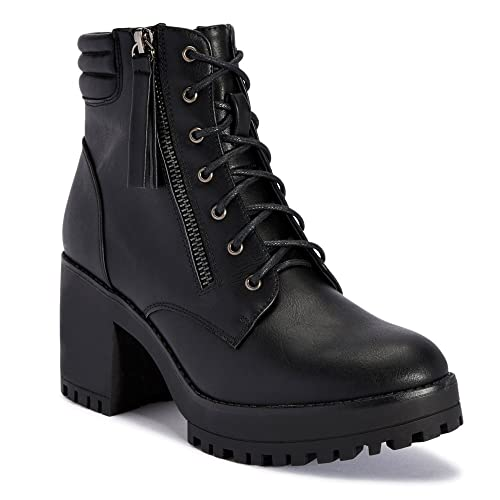 fcbafc977bd TRUFFLE COLLECTION Black Chunky Block Heel Chelsea Ankle Boots: Buy ...