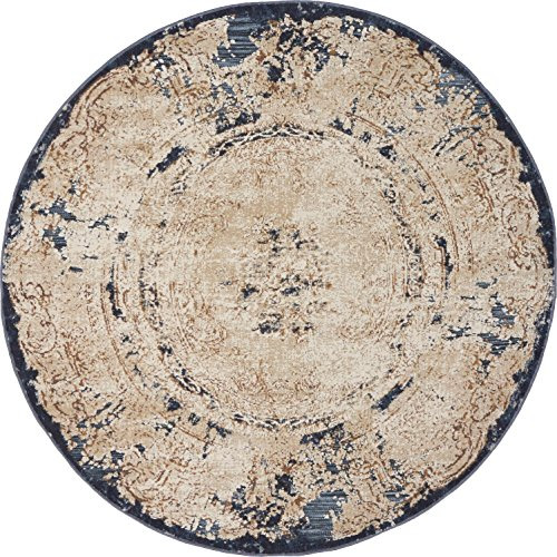 Unique Loom Chateau Collection Distressed Vintage Traditional Textured Cream Round Rug (4' 0 x 4' 0) (Rug Cream Traditional Round)