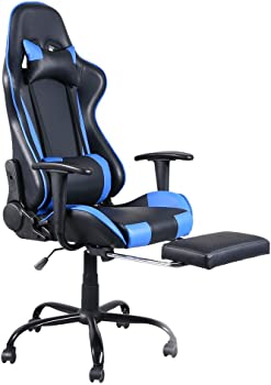 Teeker High Back Swivel Racing Gaming Office Chair with Footrest Tier