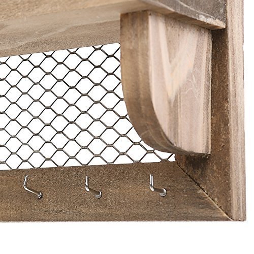 8 Hook Wood and Metal Chicken Wire Wall Mounted Jewelry Display Organizer Rack with Shelf by MyGift (Image #4)