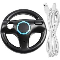 AFUNTA Volante para Wii U y Wii con Cable de Carga, Racing Wheel Case para Mario Kart 8 Games, con Cable de Cargador USB de 10 pies - Negro, Blanco