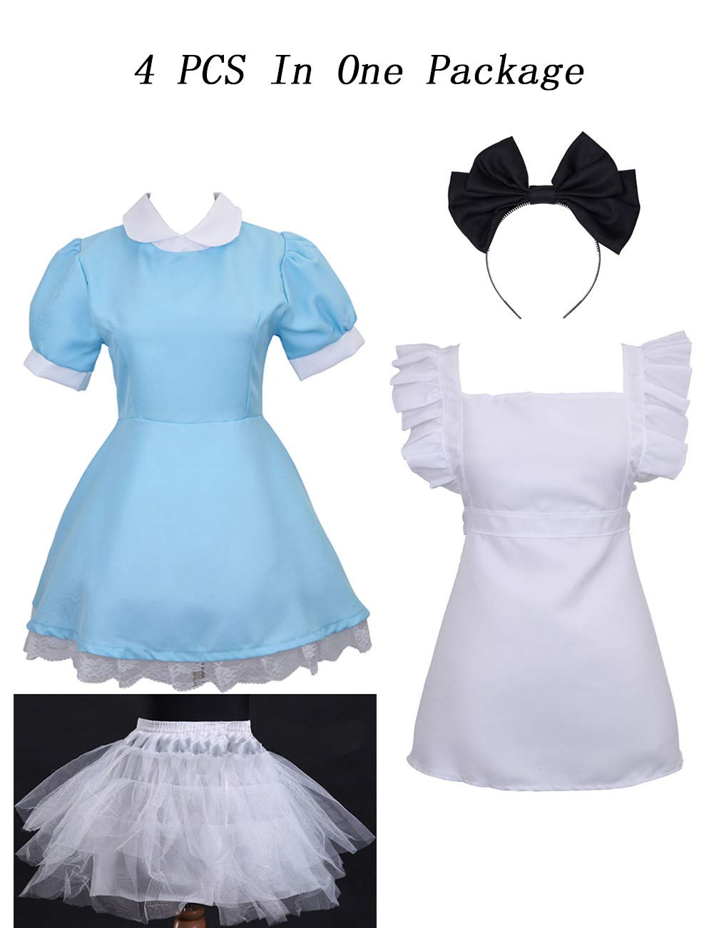 Colorful House Women's Cosplay Outfit Blue Dress Maid Fancy Dress Costume (Medium, Blue (with Petticoat)) by Colorful House (Image #2)
