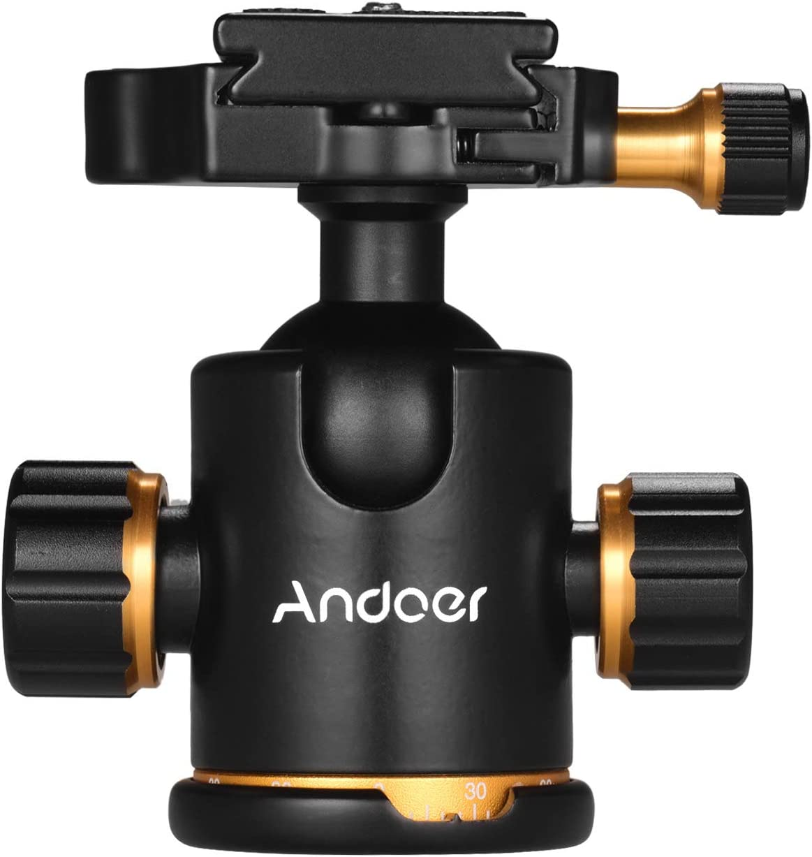 Andoer Tripod Ball Head Aluminium Alloy Panoramic Ballhead Mount Adapter 360/° Rotating with Quick Release Plate 3kg//6.6lbs Load Capacity