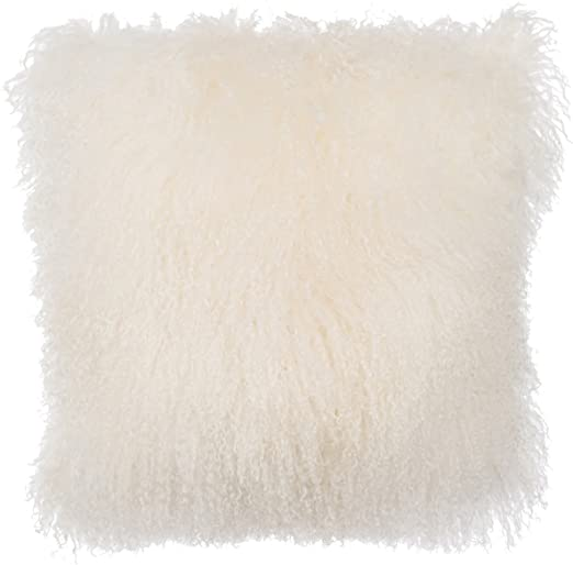 Amazon Com Slpr Mongolian Lamb Fur Throw Pillow Cover 16 X 16 Natural White Real Sheep Fur Decorative Cushion Cover Case Kitchen Dining