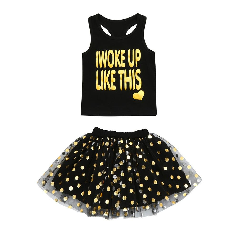 Sunbona 2pcs Toddler Baby Girls Sleeveless T Shirt Tops+Floral Skirt Dress Summer Princess Casual Party Outfit Clothes (Black 1, 5T(4~5years))