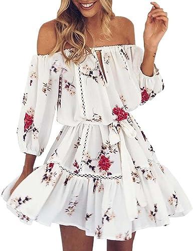 Cloom Fashion Vestito Donna Elegante Vestiti Donna Eleganti Estivi Ragazza Vestito Cerimonia Corti Abito Da Giorno Di Parola Casual Senza Spalline Mezza Manica Donne Abiti Mini Vestitini Bianca Xl Amazon It Abbigliamento