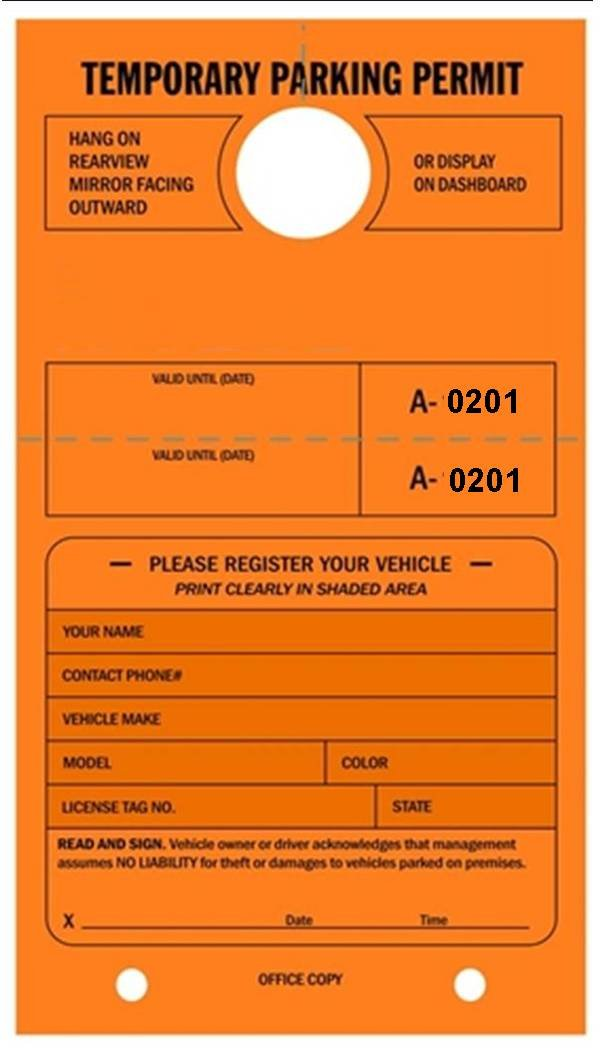 Temporary Parking Permit - Mirror Hang Tags, Numbered with Tear-Off Stub, 7-3/4'' x 4-1/4'', Bright Fluorescent Orange - Pack of 50 Tags (0201-0250)