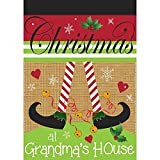 Magnolia Garden Christmas at Grandma's House Burlap Red Green Striped 30 x 44 Large House Flag For Sale