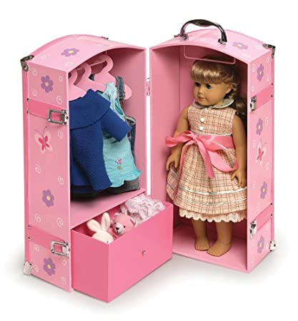 Charmant Steamer Doll Trunk Chest Wardrobe Armoire Closet Press Furniture Storage  Dresser Cabinet For 18u0026quot; Doll