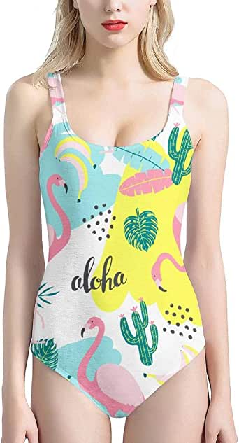 PrelerDIY Tropical Palm Leaf Flamingo One Piece Swimsuit