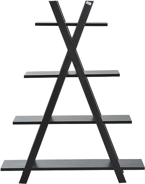HOMCOM - Estantería Triangular de 4 Pisos de Madera, para Sala de Estar, Muebles, Color marrón Oscuro