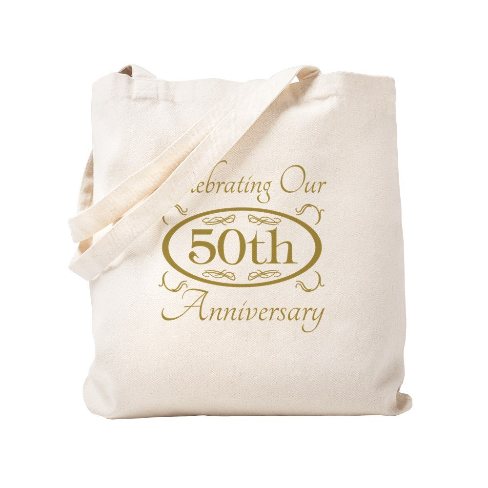 CafePress – 50回結婚記念日 – ナチュラルキャンバストートバッグ、布ショッピングバッグ S ベージュ 1377222682DECC2 B0773VG2ZK S