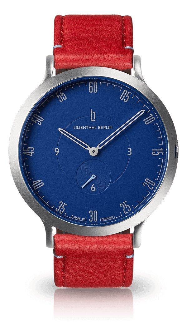 Lilienthal Berlin -Made in Germany- ベルリンの新しい時計モデル L1 ステンレススチール ケース B076M9TQ1D サイズ: 37.5 mm|ケース:シルバー/ダイヤル:ブルー/ブレスレット:レッド ケース:シルバー/ダイヤル:ブルー/ブレスレット:レッド サイズ: 37.5 mm