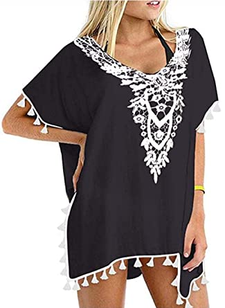 2236f1980c Barlver Womens Crochet Chiffon Tassel Swimsuit Kaftan Beach Bikini Cover  Ups for Swimwear (Black,