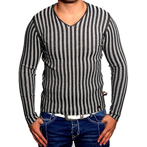 R-Neal RN-3174 Herren Pullover V-Neck Pulli Sweatshirt Jacke Hoodie T-Shirt Neu, Größe:L, Farbe:Anthrazit