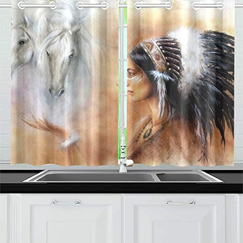 ENEVOTX Beautiful Airbrush Painting Young Native Indian Kitchen Curtains Window Curtain Tiers for Caf , Bath, Laundry, Living Room Bedroom 26 X 39 Inch 2 Pieces