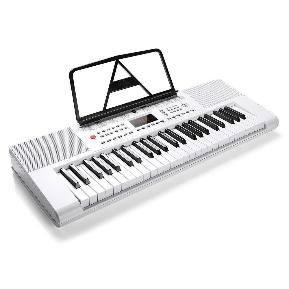 Vangoa VGK4901 49 Lighted Keys Electronic Piano Keyboard LCD Display Screen with Mic & Power Adapter VGK4901 Type B