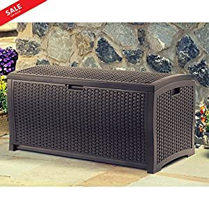 Patio Storage Container Waterproof Outdoor Deck Wicker Box Organizer Woven Pattern Patio Deck Contemporary Patio Bench Pool Equipment Patio Pillows Backyard Toy Storage Garden Tools eBook by BADA shop