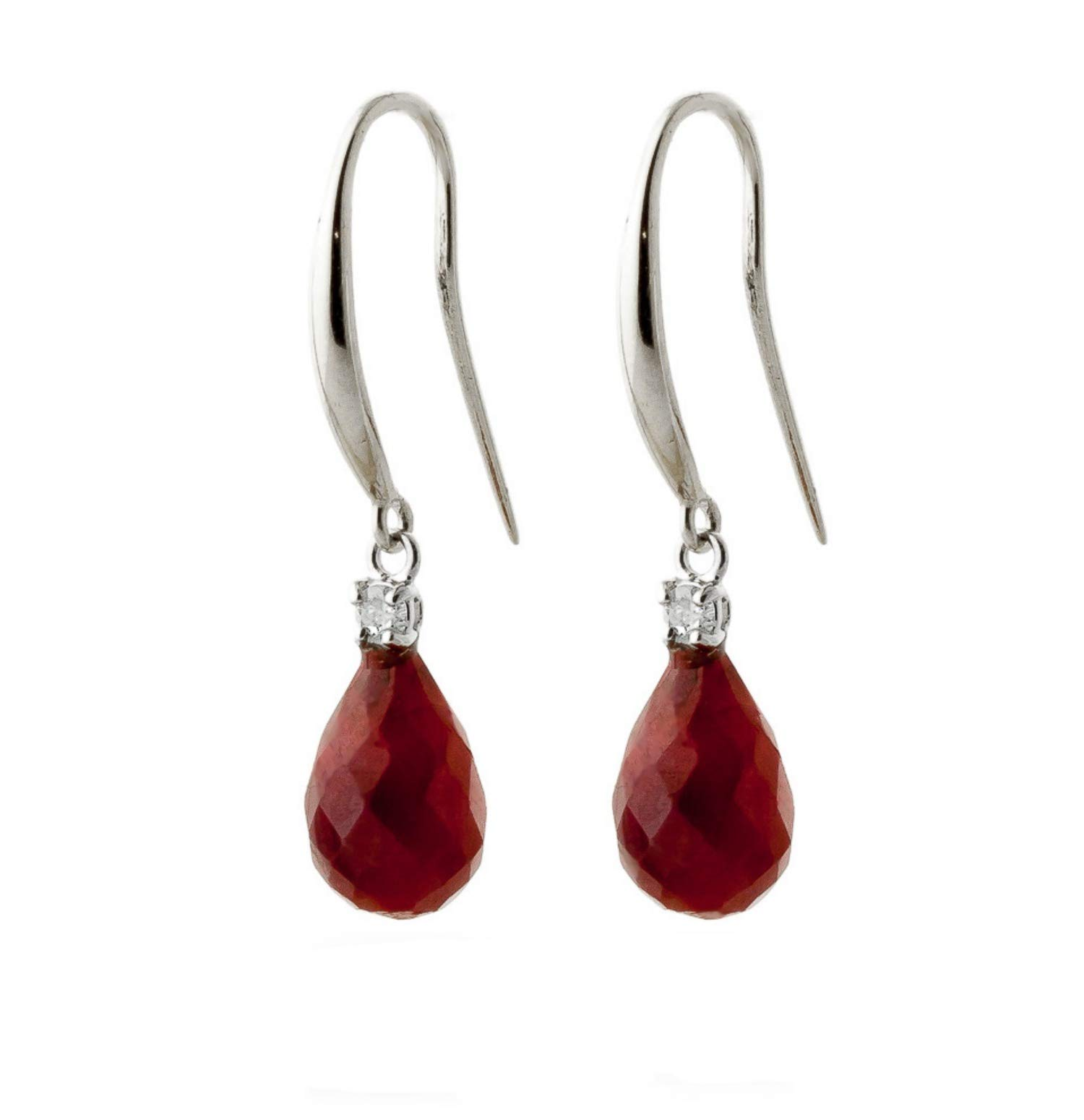 14k White Gold Fish Hook Earrings with Diamonds and Rubies by Galaxy Gold (Image #2)