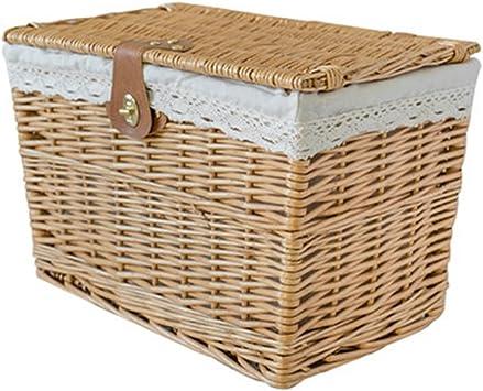 Cesta de almacenamiento tejida a mano beige cesta de mimbre de jardín cesta de picnic familiar cesta de picnic caja de almacenamiento cesta de fruta (Size : 44 * 31 * 33cm):