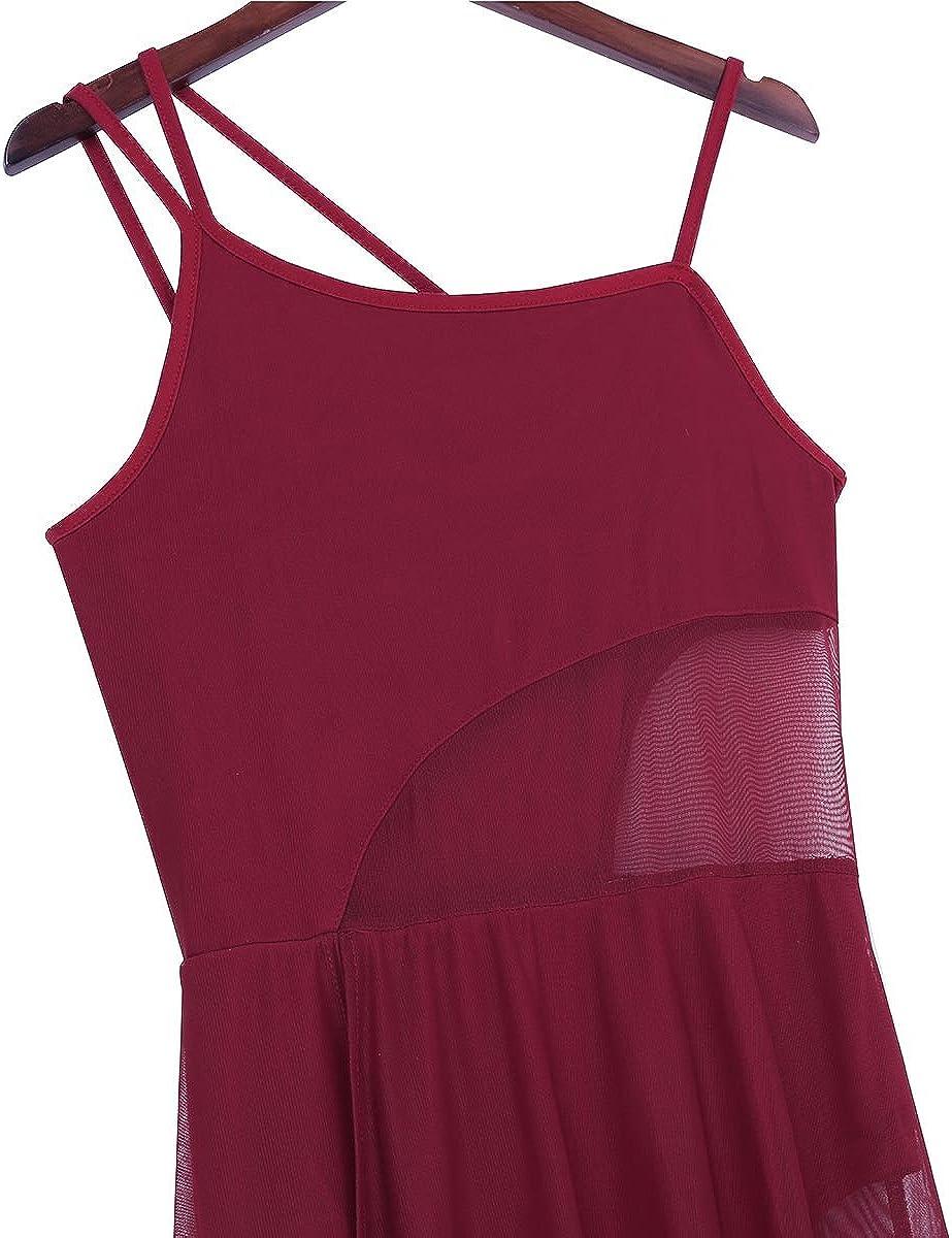 IEFIEL Femme Tulle Robe de Danse Latine Tango Robe de Danse Classique Robe de Rumba Salsa Valse Jazz Robe Gymnastique Performance XS-XL