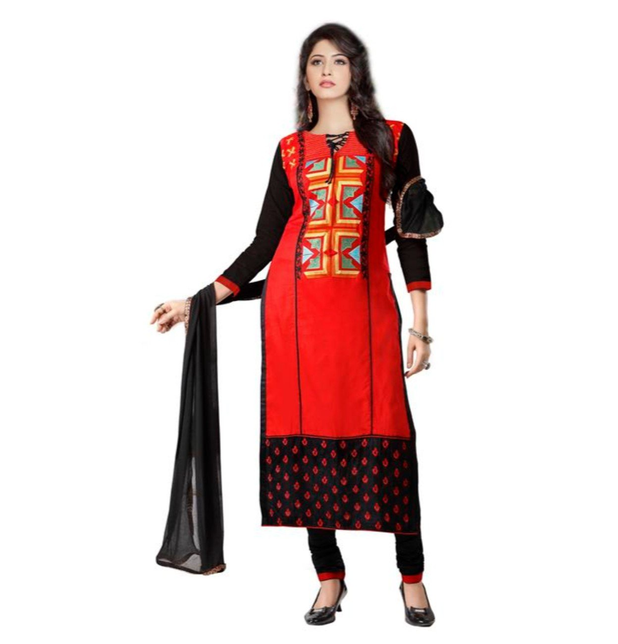 CRAZYBACHAT Indian Ethnic Pure Glass Cotton Designer Red and Black Salwar Suit Dress Materials