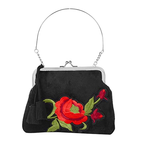 STRIPES Black Fabric Red Rose Flower Design Kiss Lock Clutch Purses ...