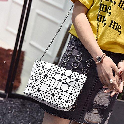 PU Crossbody Purse Geometric Women Chain Laser White Bag Metal Handbags Felice Shoulder xatzqAwwSE
