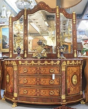 casa padrino luxus barock schrank mit spiegelkonsole mahagoni intarsien mit marmorplatte luxus wohnzimmer mobel konsole
