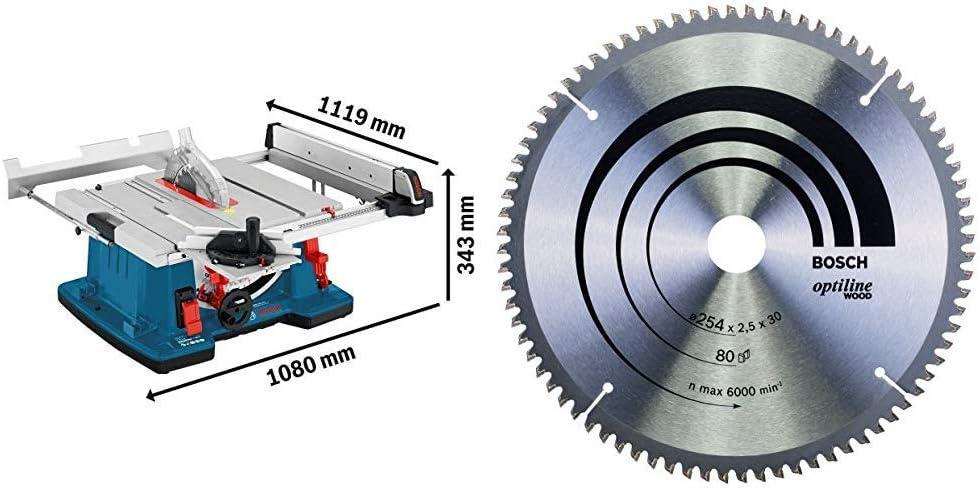 Bosch Profesional Sierra Circular de mesa GTS 10 XC con freno de motor + Bosch 2 608 640 437 - Hoja de sierra circular Optiline Wood (254 x 30 x 2,5 mm, 80)