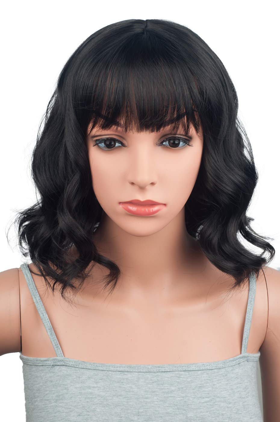 """12"""" Short Wavy Bob Synthetic Wigs With Bangs"""