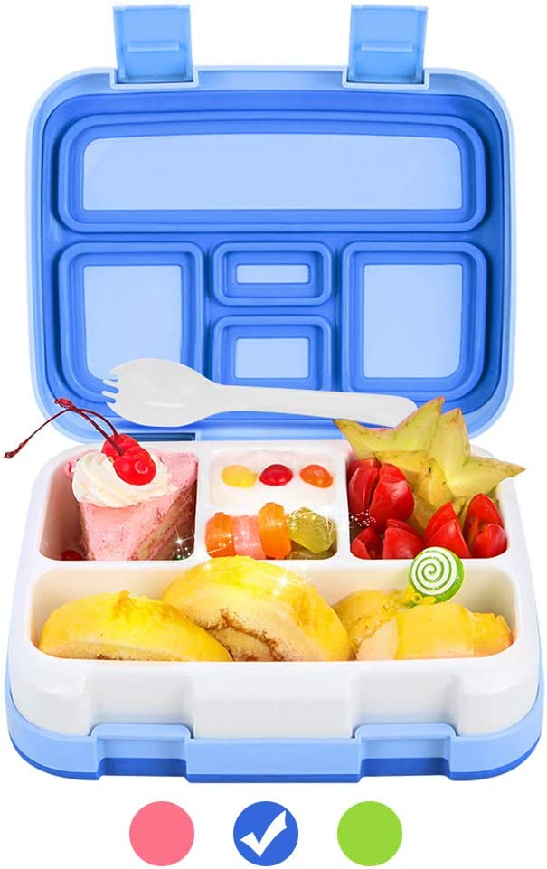 Bento Box for Kids Lunch Box BPA-Free DaCool Upgraded Toddler School Lunch Container with Spoon 5-Compartment Leak Proof Durable, Meal Fruit Snack Packing for Picnic Outdoors, Microwave Safe - Blue