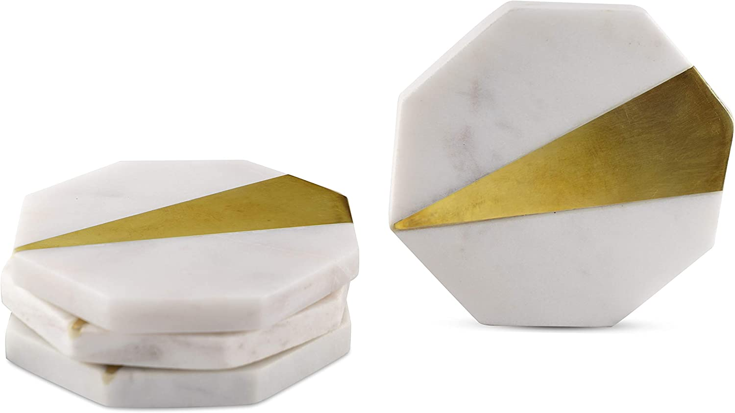 GoCraft Brass & Marble Coasters | Handcrafted Geometric White Marble Coasters with Brass Inlay for your Drinks, Beverages & Wine/Bar Glasses (Set of 4)