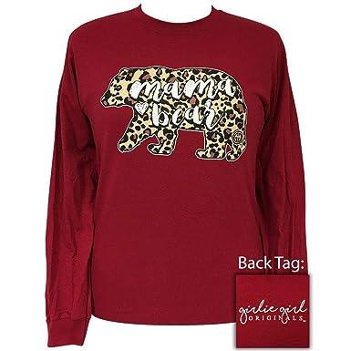 fc5aa7bc04ba Girlie Girl Mama Bear Leopard Preppy Long Sleeve T-Shirt Adult (Small)  Cardinal