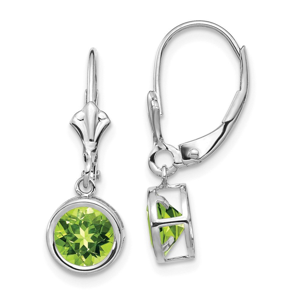 14k White Gold 6mm Peridot Leverback Earrings Length 25 Width 7