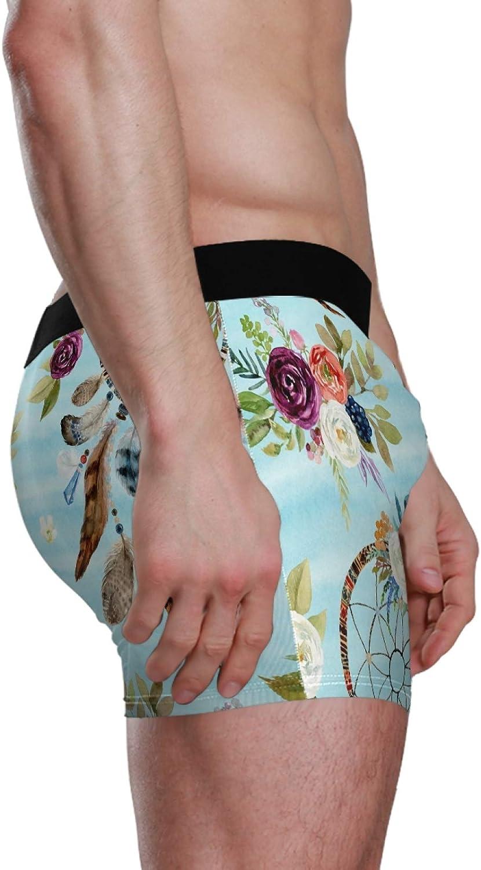 VVIEER Mens Underwear Comfortable Boxer Briefs Print Trunks Dreamcatchers and Flowers S