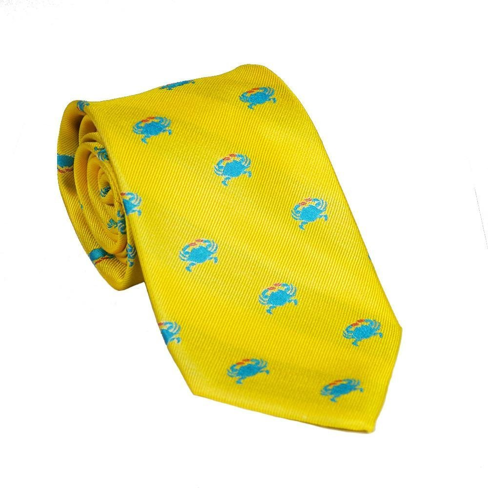 SummerTies Crab Necktie - Blue on Yellow, Woven Silk, Kids Length