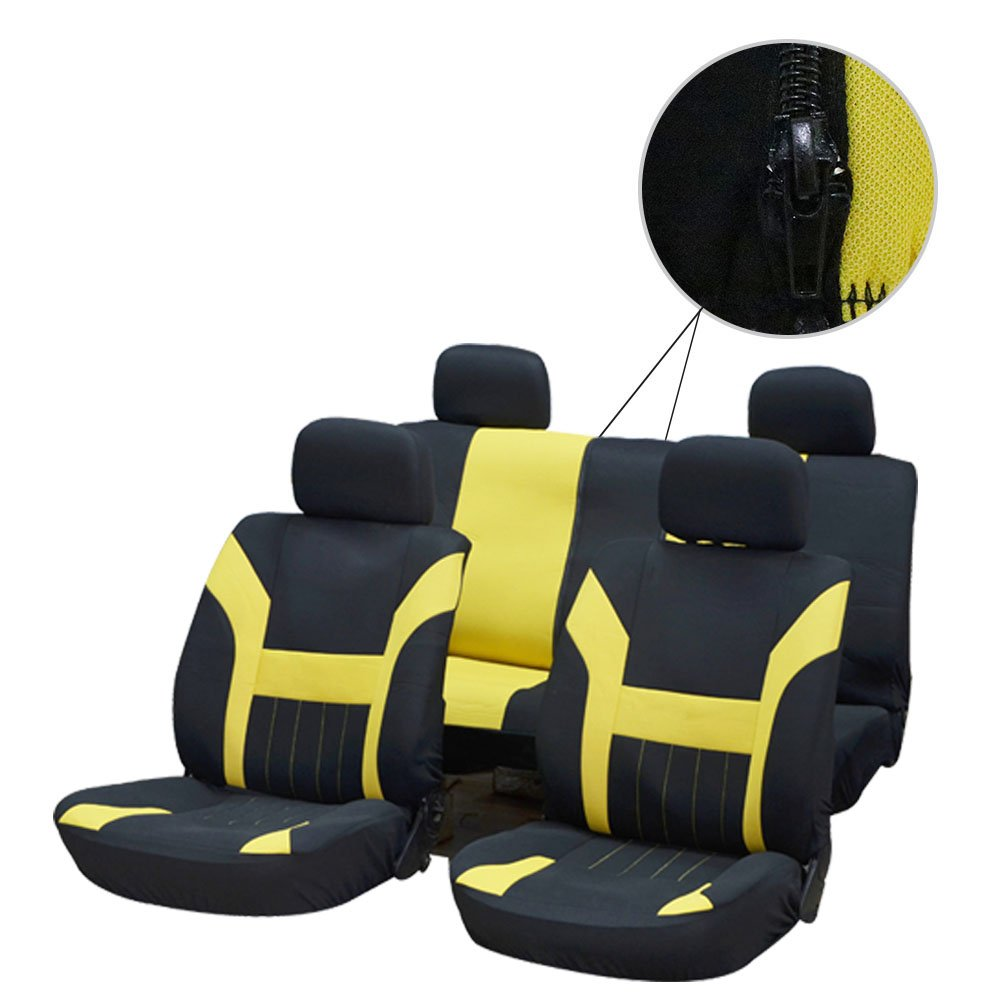 OCPTY Car Seat Cover Black//Yellow Stretchy Universal Seat Cushion w//Headrest 100/% Breathable Automotive Accessories with Durable Washable Polyester for Most Cars
