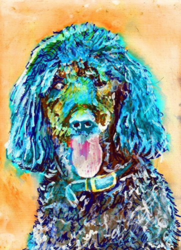 Poodle Wall Art Print, Gift Idea, Poodle Dog Painting, Poodle Mom, Poodle Nursery art, Gift for Poodle Owner, Turquoise Orange Standard Poodle, Colorful Dog Painting Signed by Oscar Jetson ()