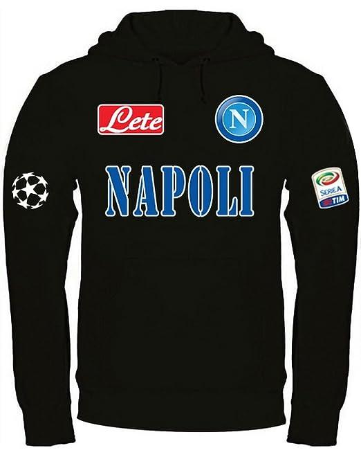 buy online 03514 70469 Print & Design Felpa con Cappuccio Napoli Personalizzata Nera